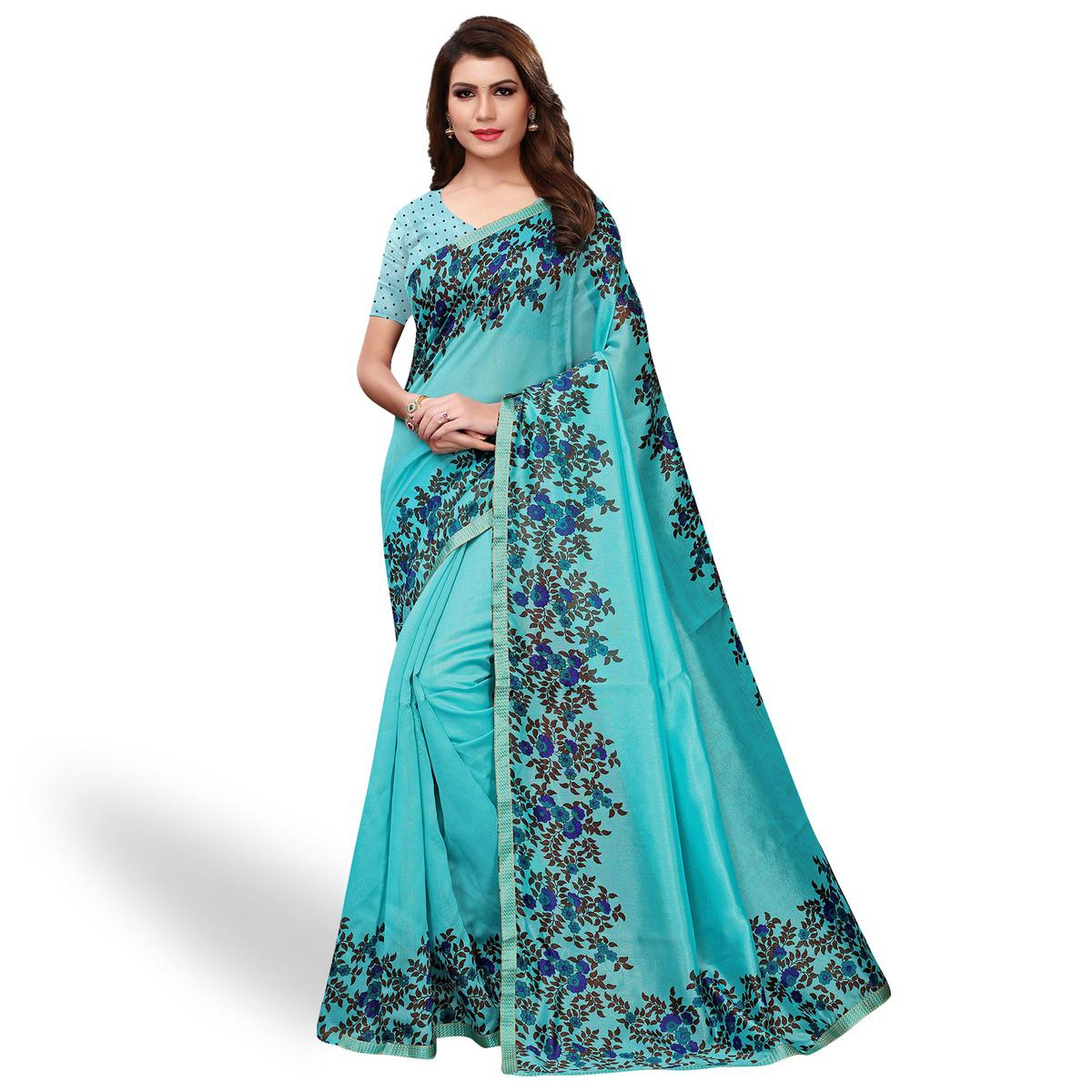 Flaunt Sky Blue Colored Casual Wear Printed Art Silk Saree