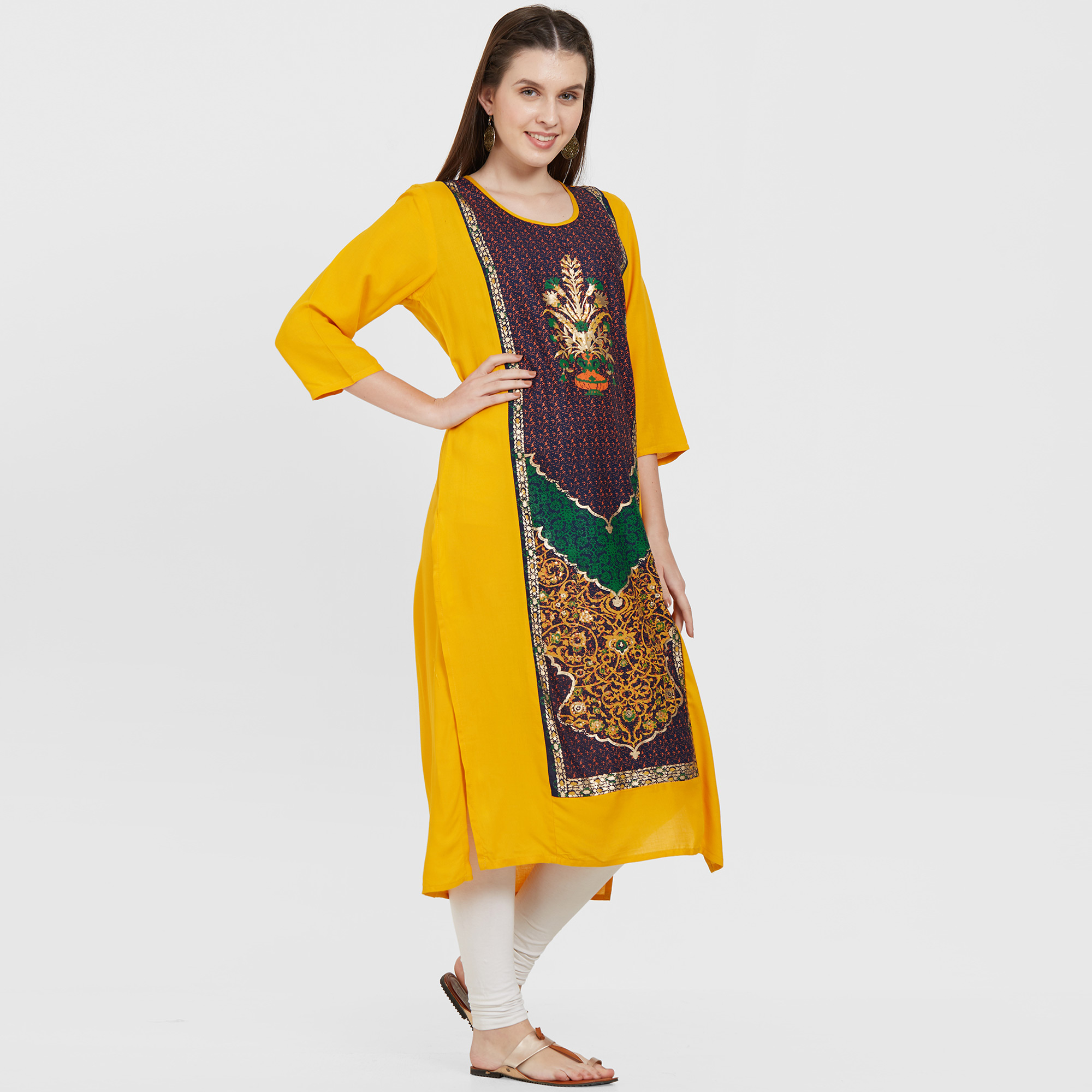Excellent Yellow Colored Casual Wear Printed Rayon Kurti