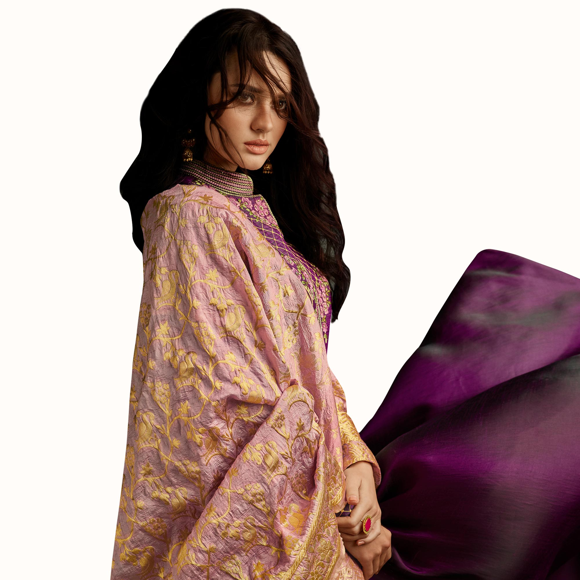 Alluring Purple Colored Partywear Embroidered Raw Silk Anarkali Suit