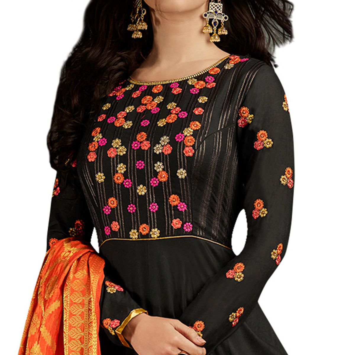Stunning Black Colored Partywear Embroidered Rayon Anarkali Suit