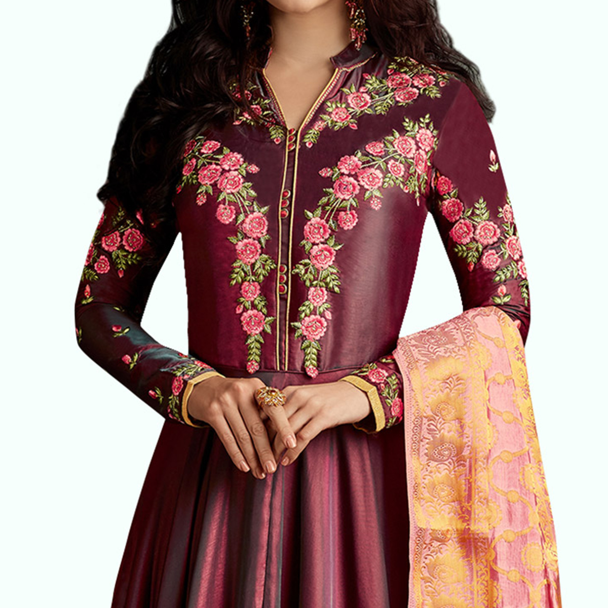 Marvellous Maroon Colored Partywear Embroidered Raw Silk Anarkali Suit