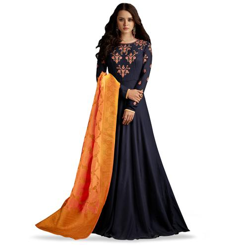 Charismatic Navy Blue Colored Partywear Embroidered Rayon Anarkali Suit