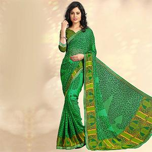 Green Casual Printed Chiffon Saree