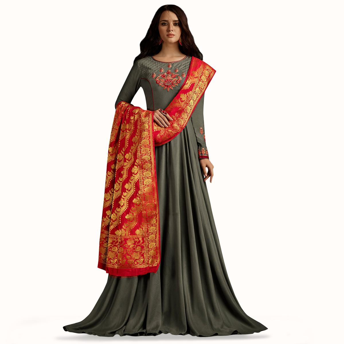 Gorgeous Gray Colored Partywear Embroidered Rayon Anarkali Suit