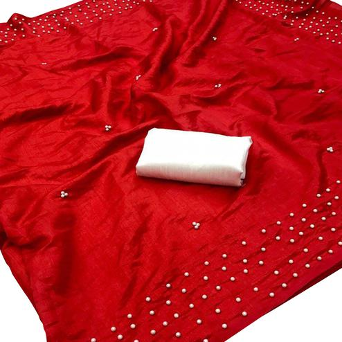 Pretty Red Colored Partywear Vichitra Silk Saree