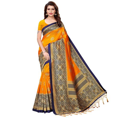 Blooming Orange Colored Festive Wear Printed Art Silk Saree