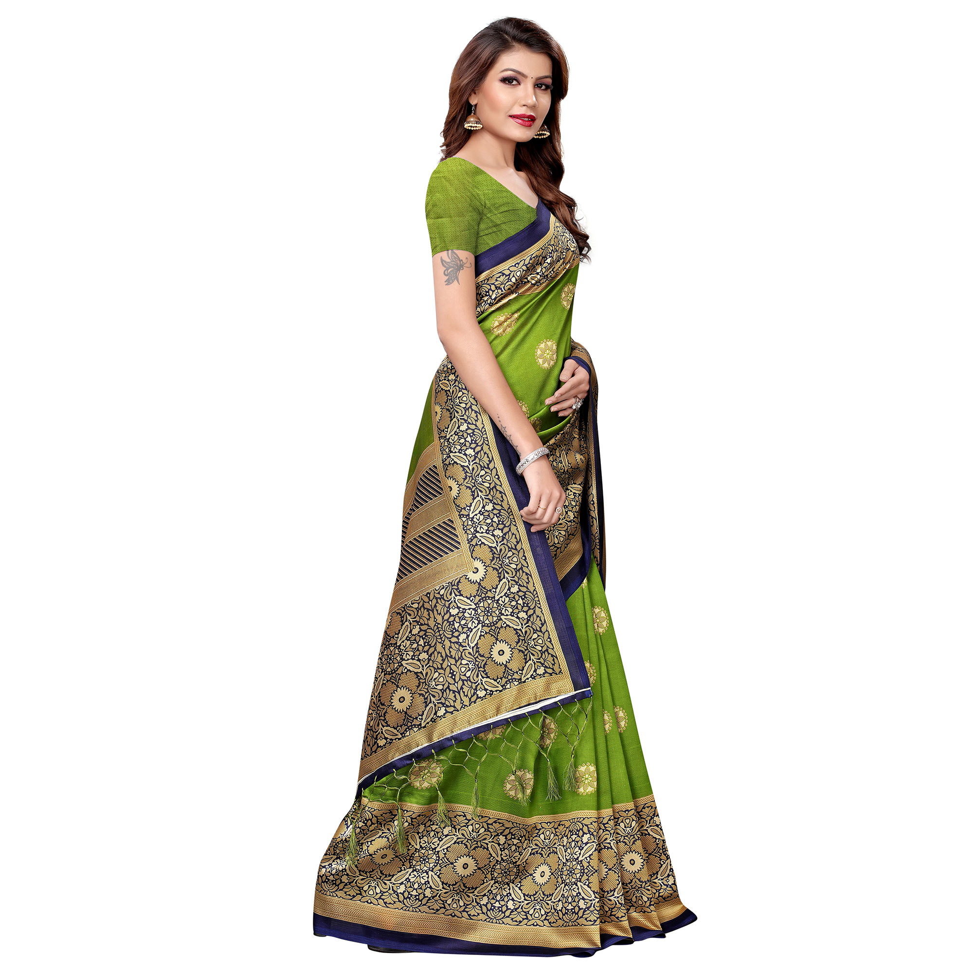 Charming Green Colored Festive Wear Printed Art Silk Saree
