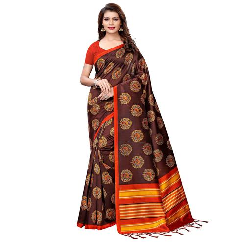 Delightful Coffee Brown Colored Festive Wear Printed Art Silk Saree
