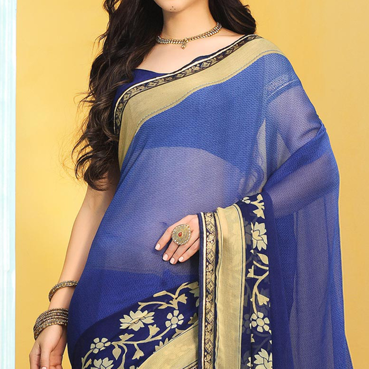 Blue Casual Printed Chiffon Saree
