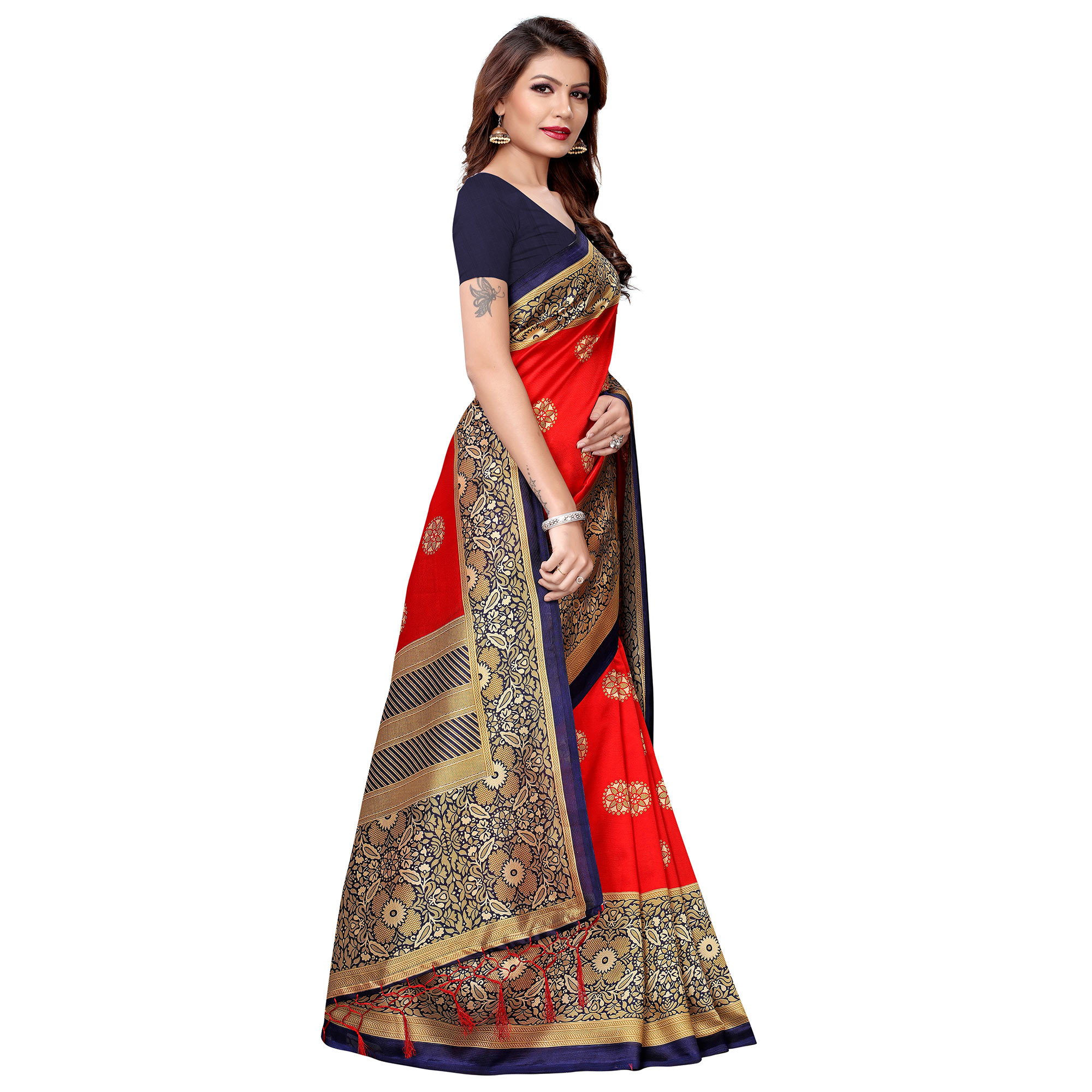 Engrossing Red Colored Festive Wear Printed Art Silk Saree