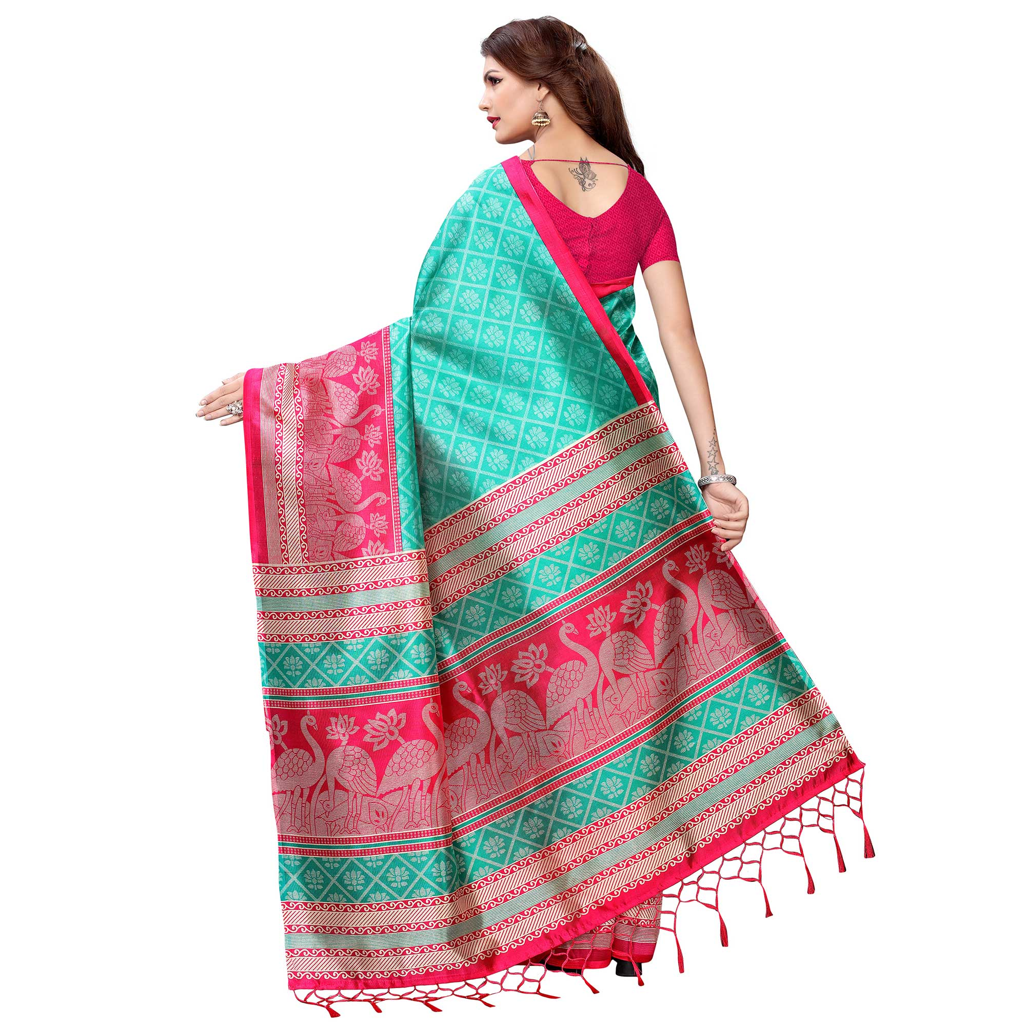 Captivating Turquoise Green Colored Festive Wear Printed Art Silk Saree