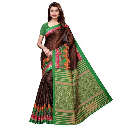 Classy Brown Colored Casual Printed Khadi Silk Saree