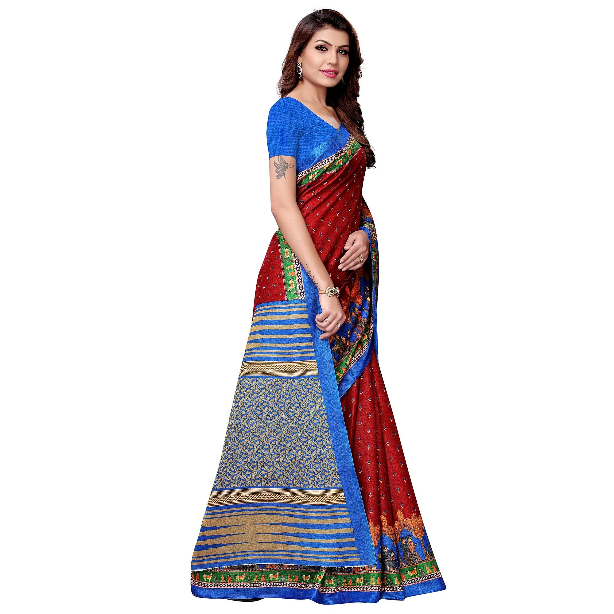 Attractive Maroon-Blue Colored Casual Printed Khadi Silk Saree