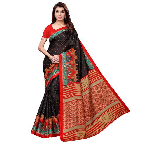 Fabulous Black Colored Casual Printed Khadi Silk Saree