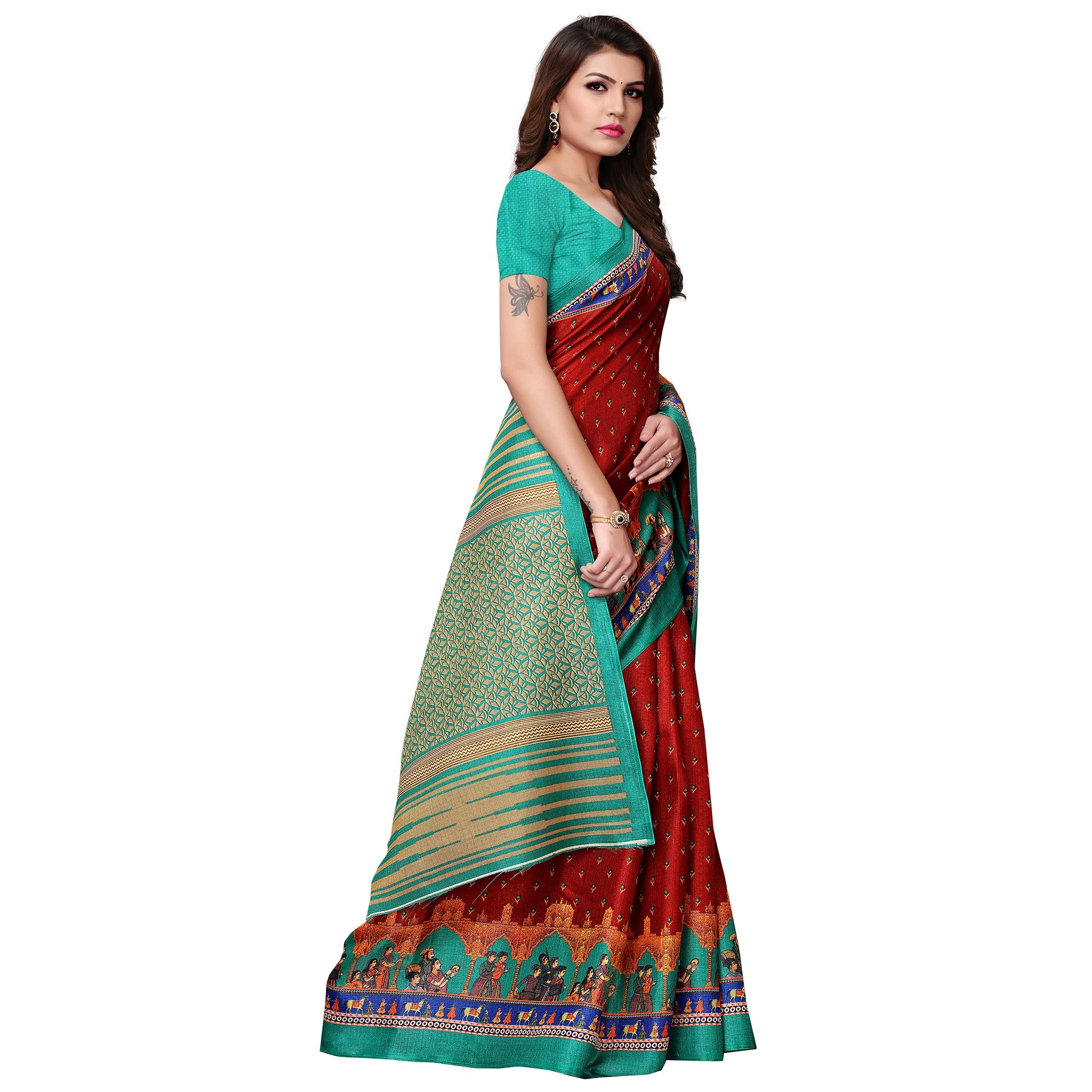 Traditional Maroon-Turquoise Green Colored Casual Printed Khadi Silk Saree