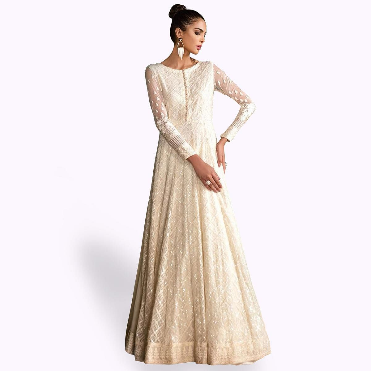 Alluring White Colored Partywear Embroidered Georgette Anarkali Suit