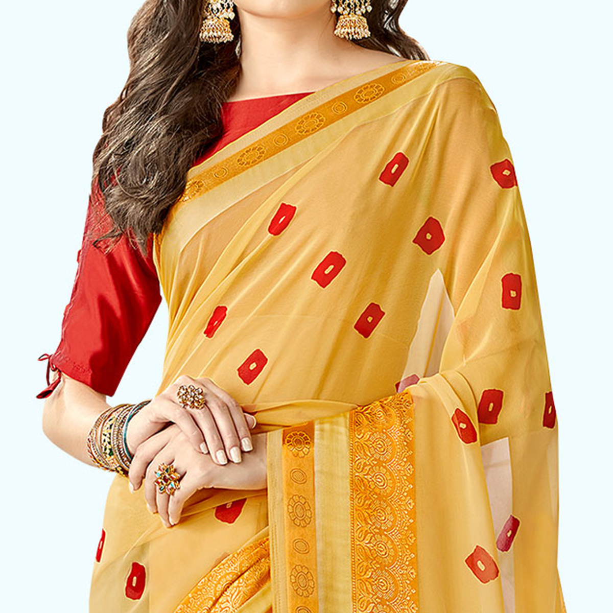 Pretty Yellow Colored Party Wear Printed Georgette Saree