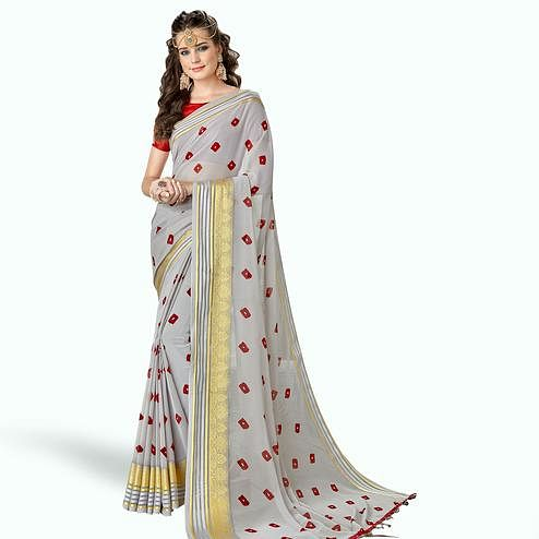 Alluring Gray Colored Party Wear Printed Georgette Saree