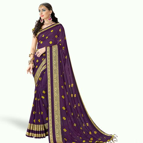 Sensational Purple Colored Party Wear Printed Georgette Saree