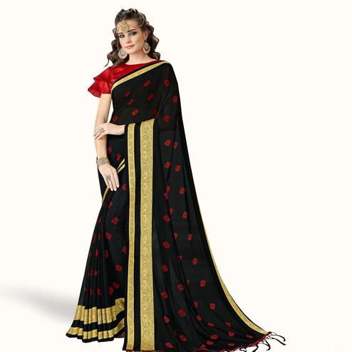 Flaunt Black Colored Party Wear Printed Georgette Saree