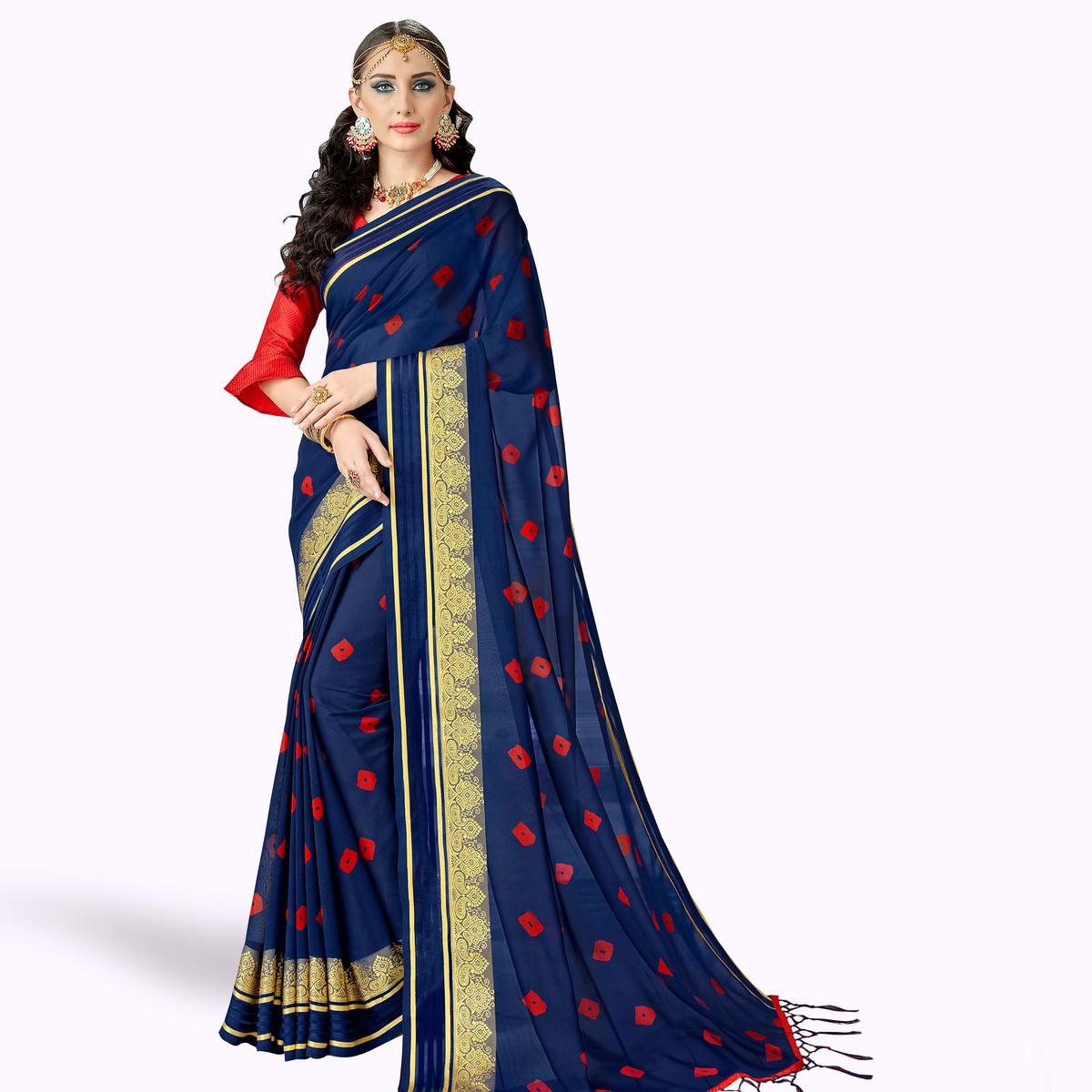 Flirty Navy Blue Colored Party Wear Printed Georgette Saree