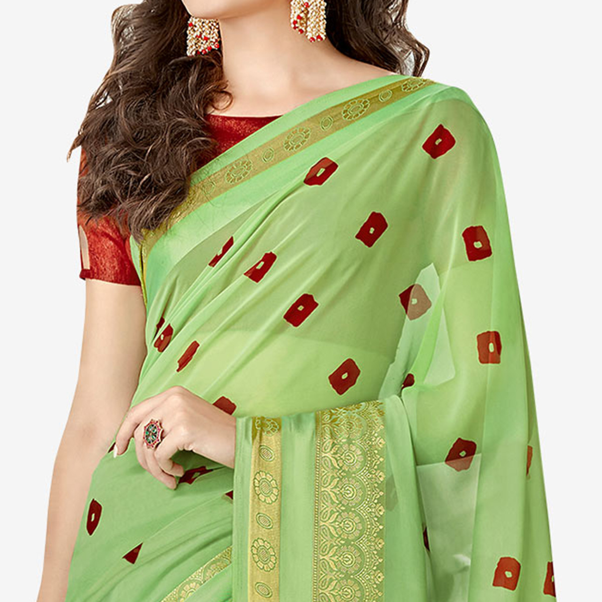 Classy Green Colored Party Wear Printed Georgette Saree