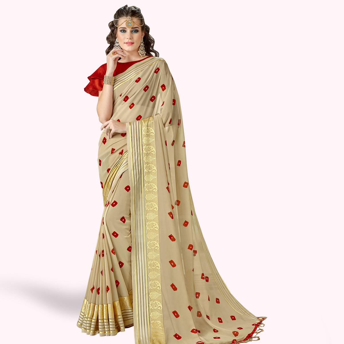 Adorning Beige Colored Party Wear Printed Georgette Saree