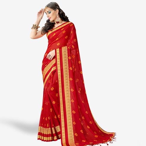 Appealing Red Colored Party Wear Printed Georgette Saree