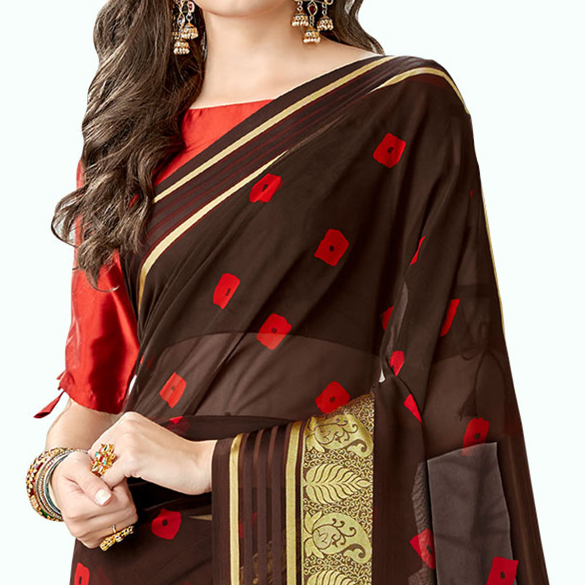 Capricious Brown Colored Party Wear Printed Georgette Saree