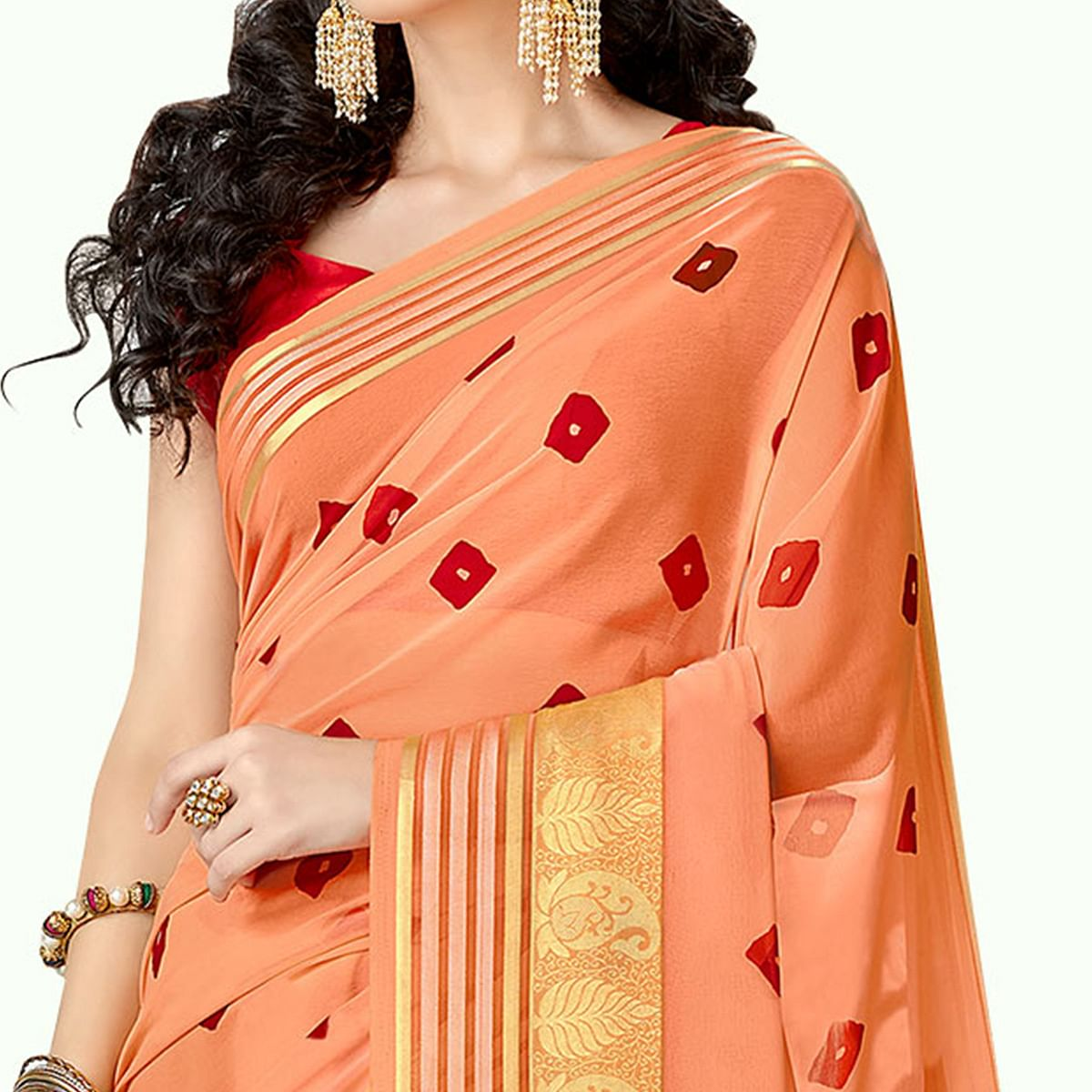 Entrancing Peach Colored Party Wear Printed Georgette Saree