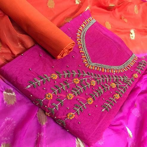 Mesmeric Pink Colored Party Wear Embroidered Chanderi Silk Dress Material