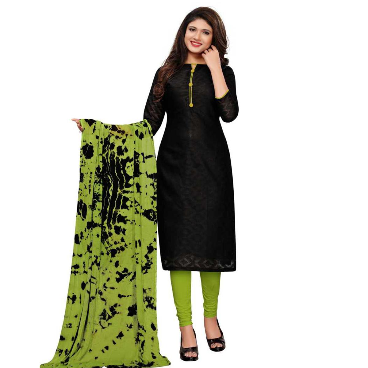 Ideal Black Colored Casual Wear Printed Cotton Dress Material
