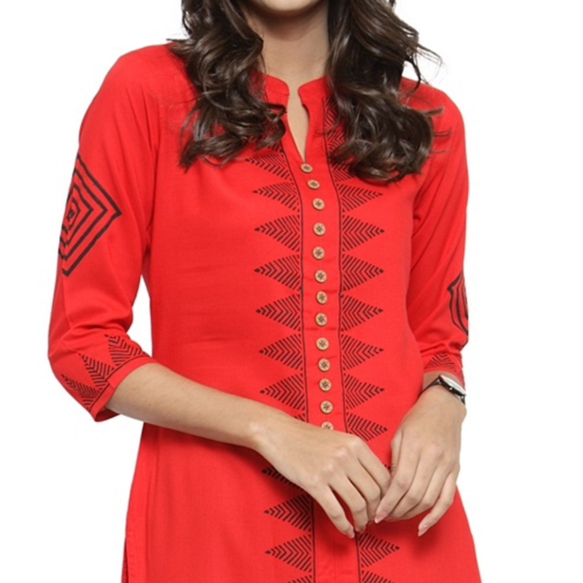 Fantastic Red Colored Casual Printed Rayon Kurti