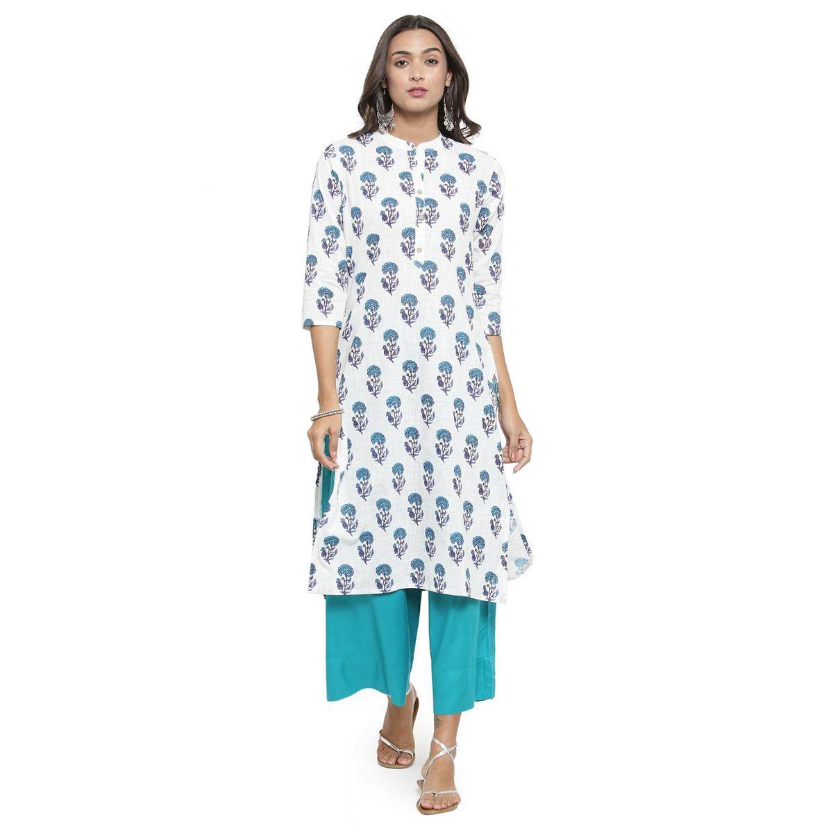 Amazing White Colored Casual Printed Cotton Kurti