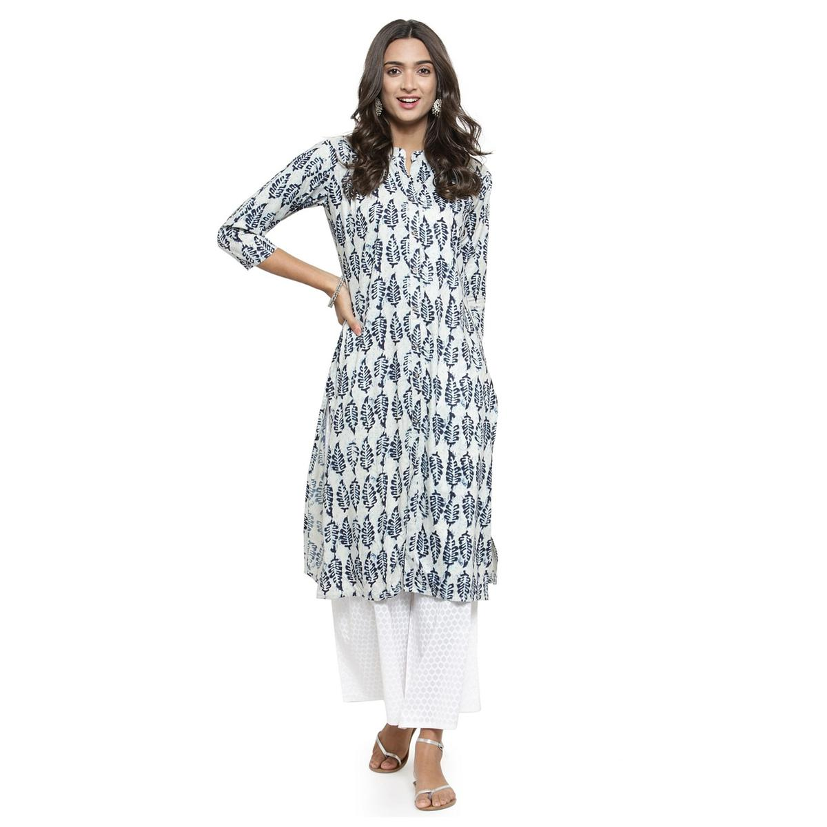 Blissful White Colored Casual Printed Cotton Kurti