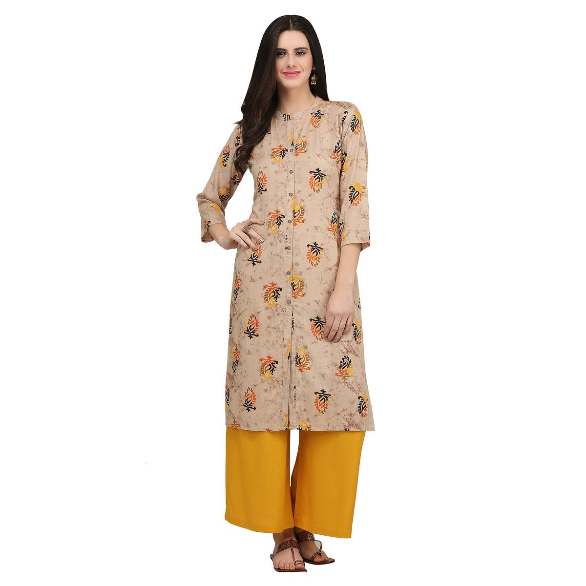 Ideal Beige Colored Casual Printed Rayon Kurti