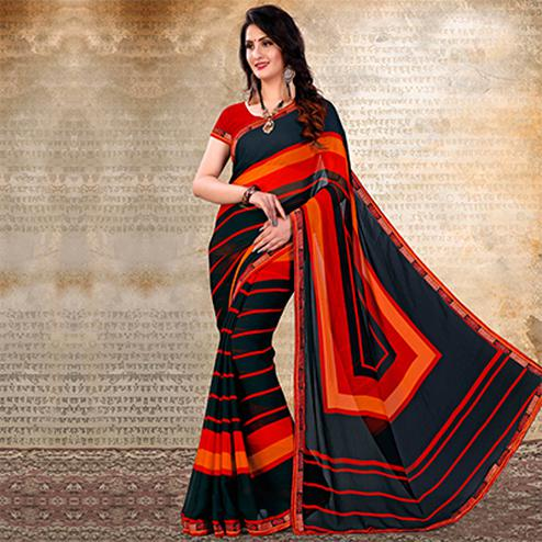 Black-Red Casual Striped Chiffon Saree