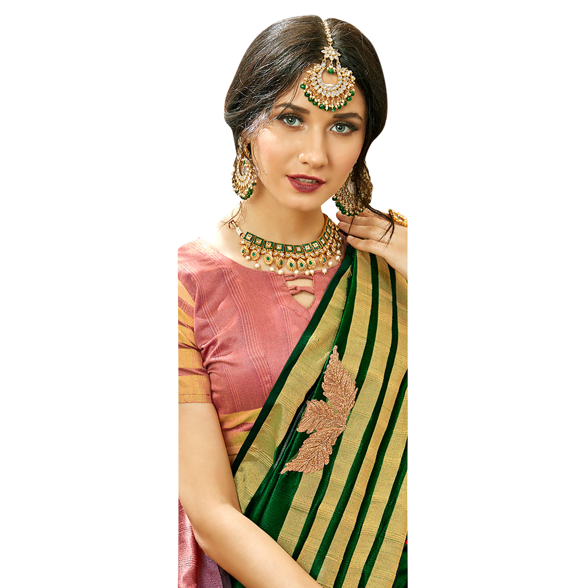 Fantastic Dark Green Colored Festive Wear Embroidered Cotton Silk Saree