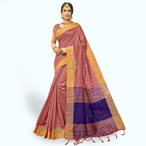 Amazing Mauve Colored Festive Wear Embroidered Cotton Silk Saree