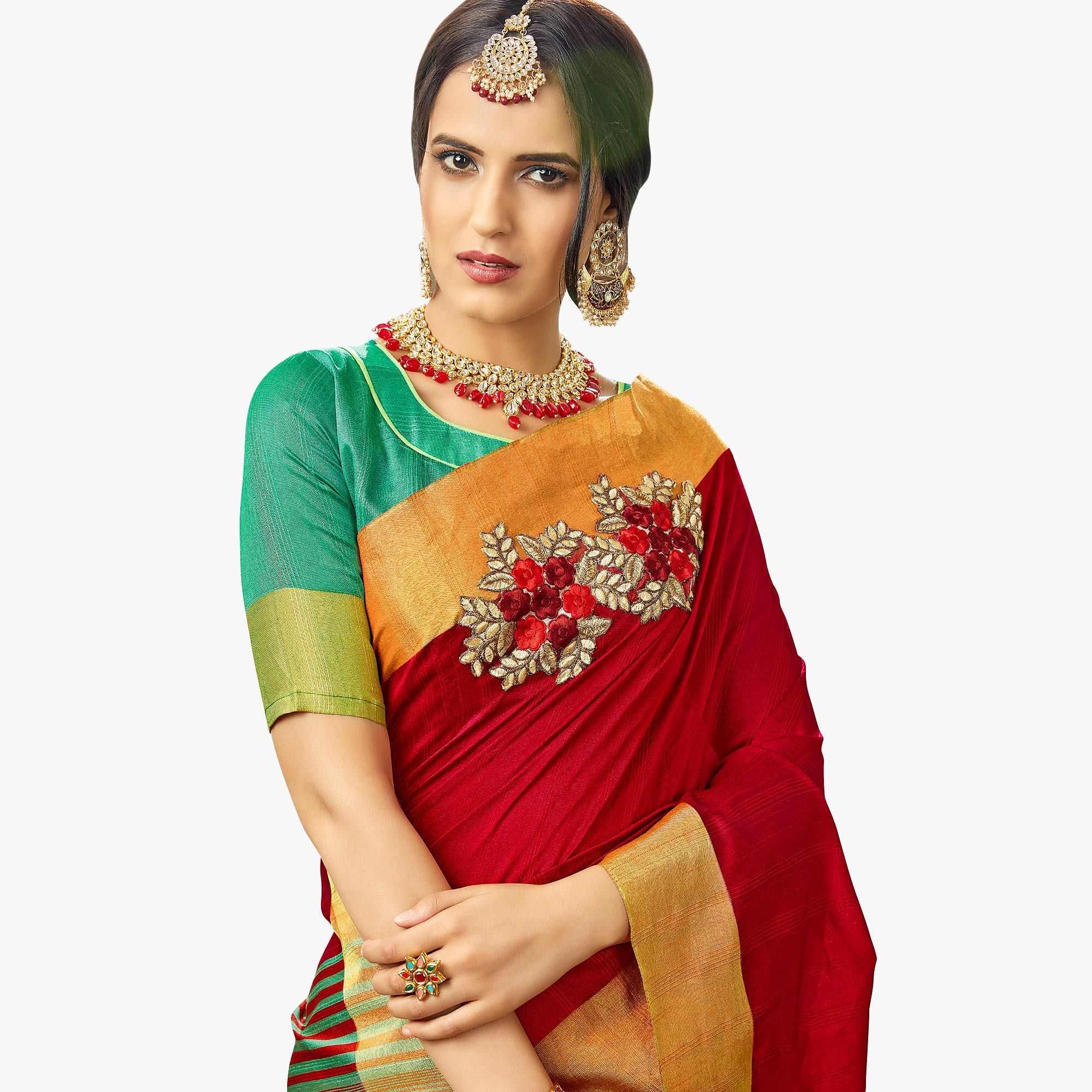 Gorgeous Red Colored Festive Wear Embroidered Cotton Silk Saree