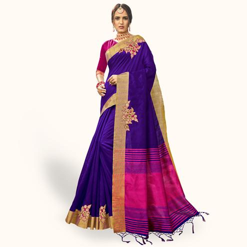 Blissful Dark Purple Colored Festive Wear Embroidered Cotton Silk Saree