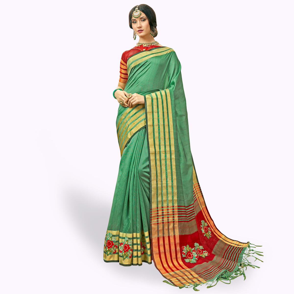 Ideal Green Colored Festive Wear Embroidered Cotton Silk Saree