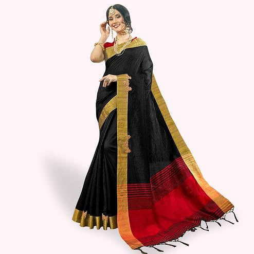 Imposing Black Colored Festive Wear Embroidered Cotton Silk Saree