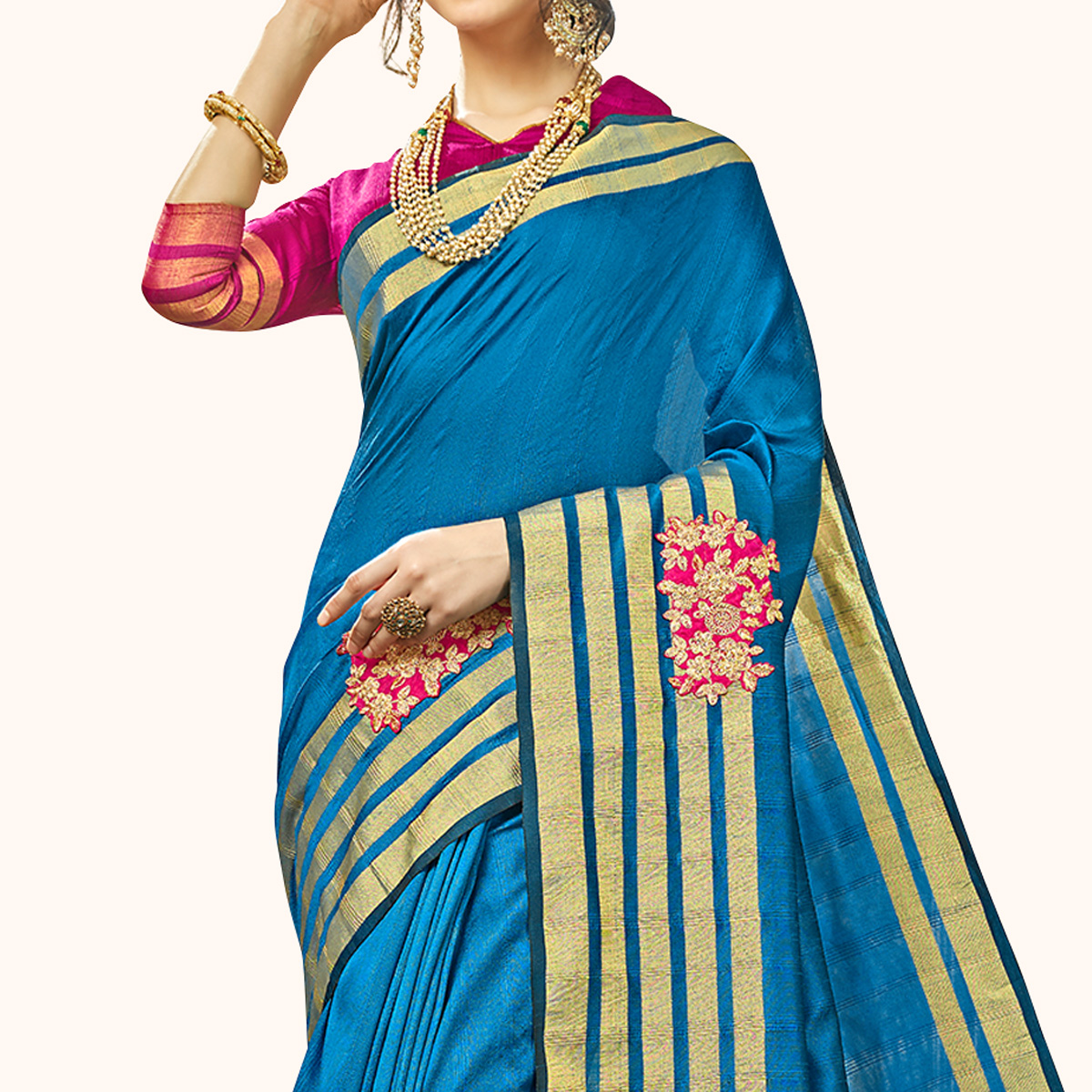 Lovely Blue Colored Festive Wear Embroidered Cotton Silk Saree