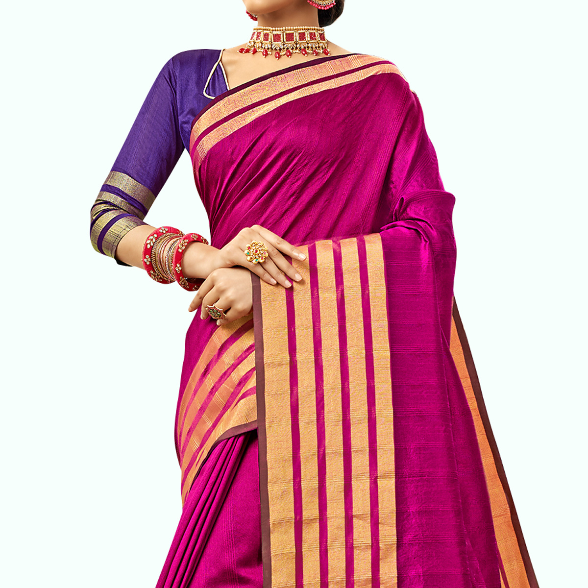 Majesty Magenta Pink Colored Festive Wear Embroidered Cotton Silk Saree