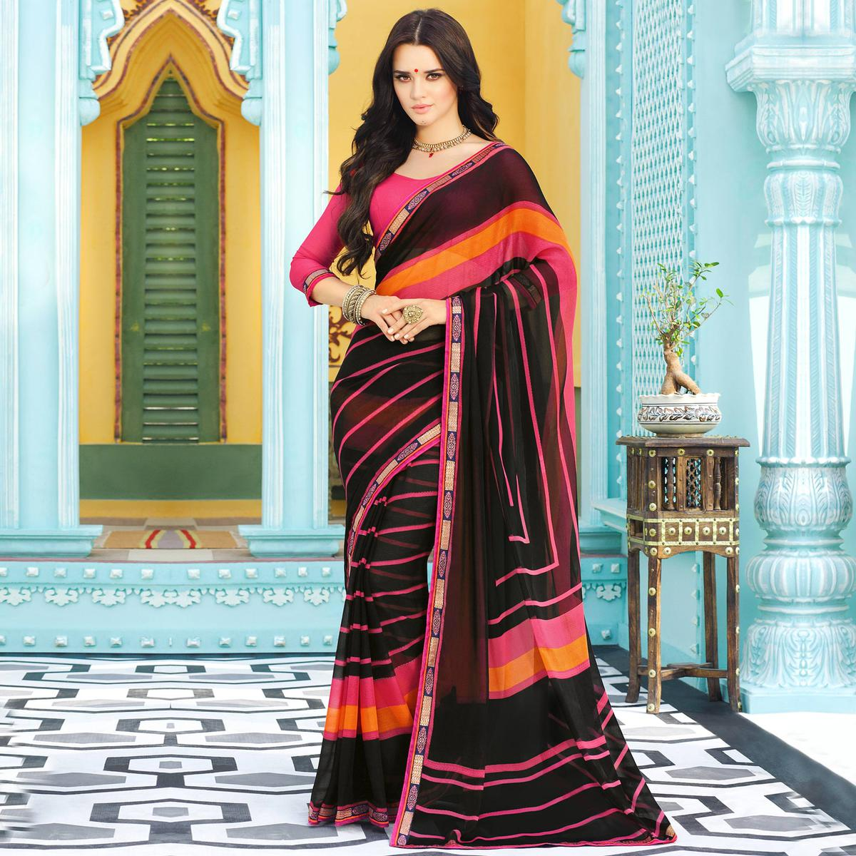 Black-Pink Casual Striped Chiffon Saree