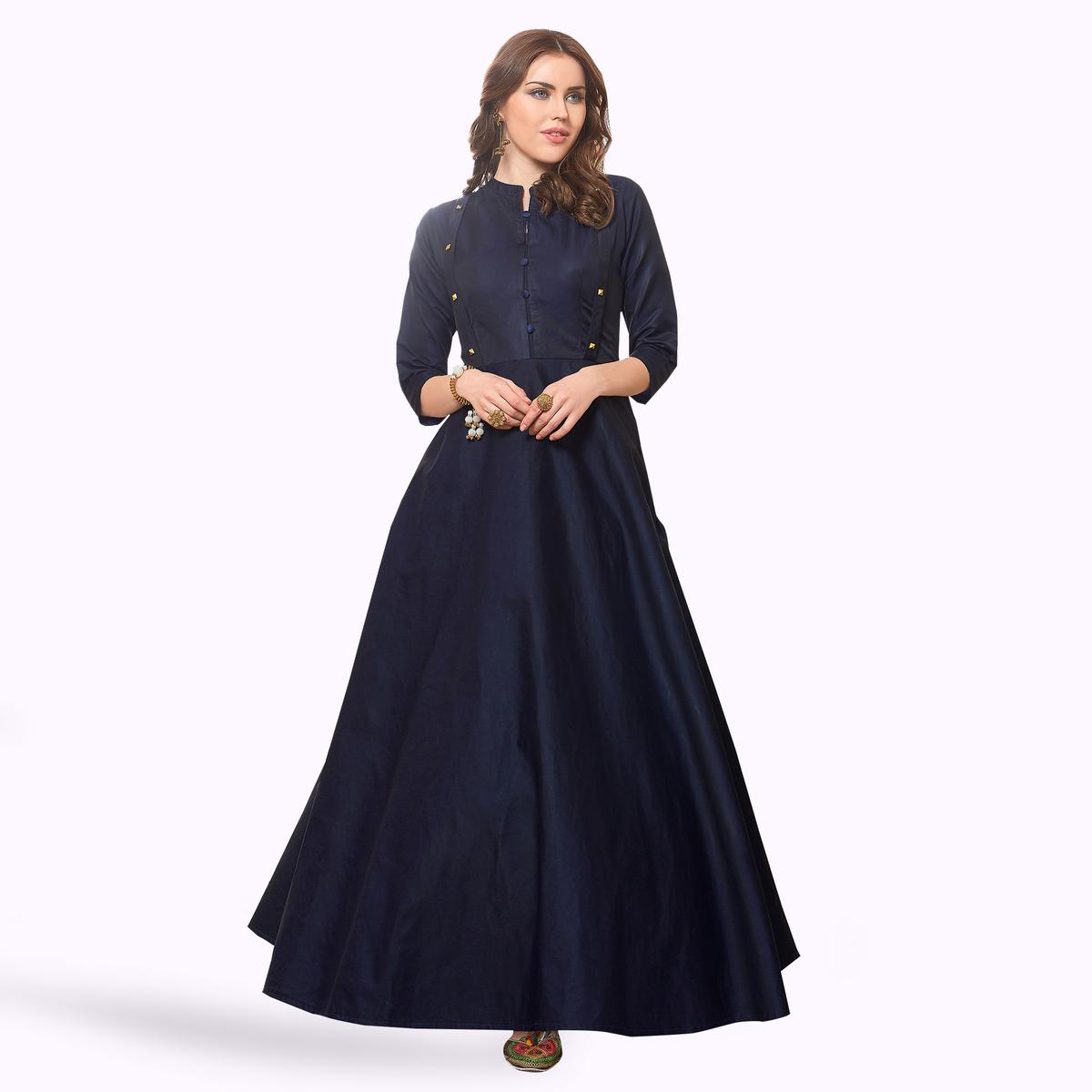 Appealing Navy Blue Colored Partywear Tapetta Satin Gown