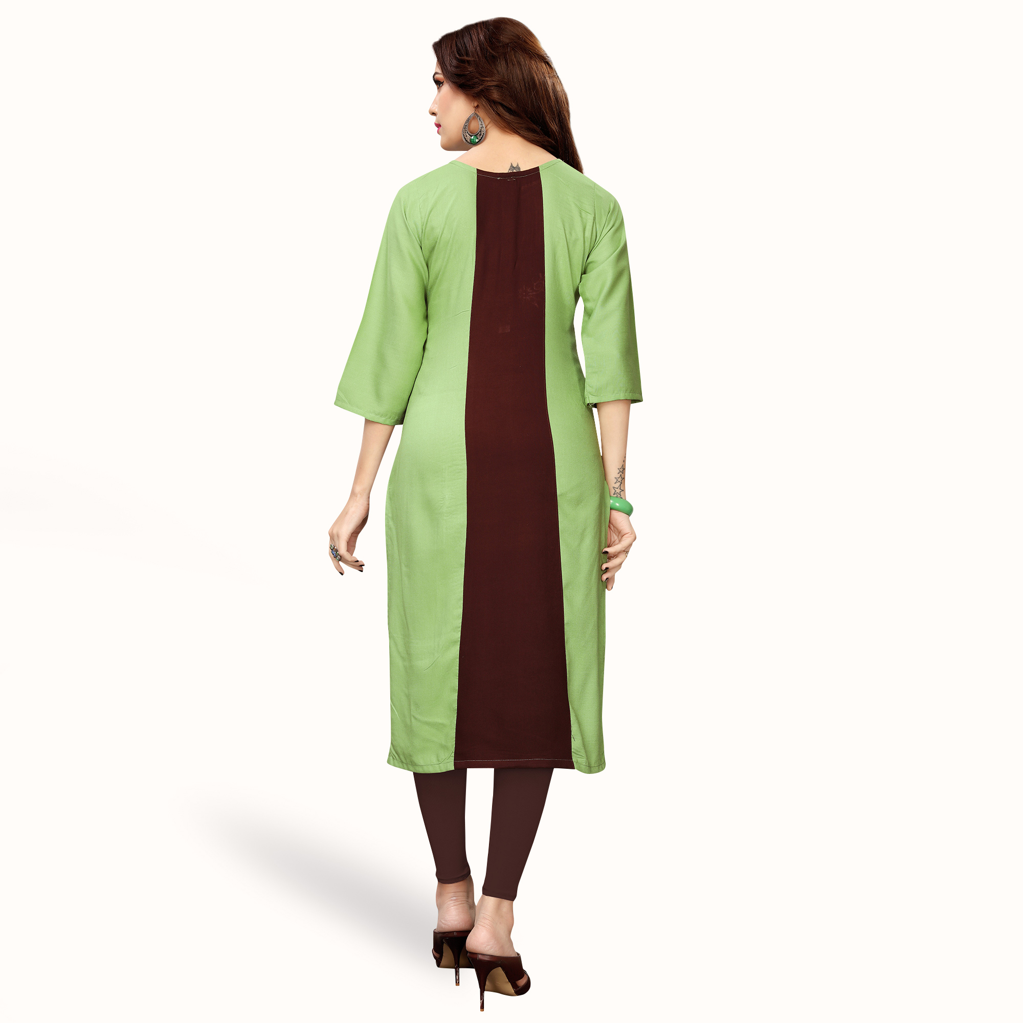 Flattering Green Colored Partywear Embroidered Rayon Kurti