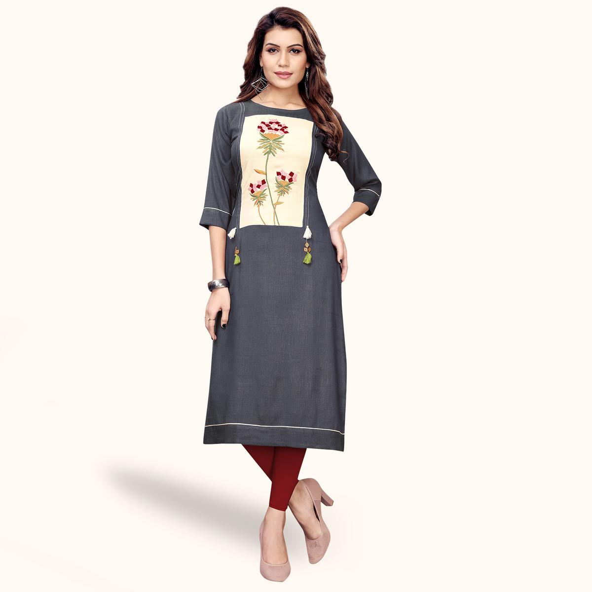 Excellent Gray Colored Partywear Embroidered Rayon Kurti