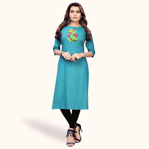 Marvellous Sky Blue Colored Partywear Embroidered Rayon Kurti